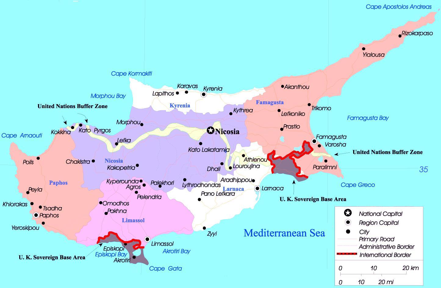 Karte Von Europa Mit Städten.Zypern Städte Map Karte Von Zypern Städte Europa Süd Europa